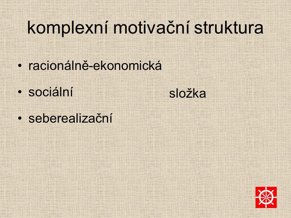 komplexní motivační struktura racionálně-ekonomická sociální seberealizační složka