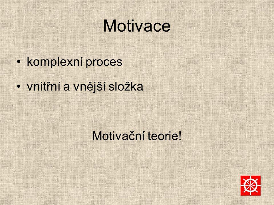 Motivace komplexní proces vnitřní a vnější složka Motivační teorie!