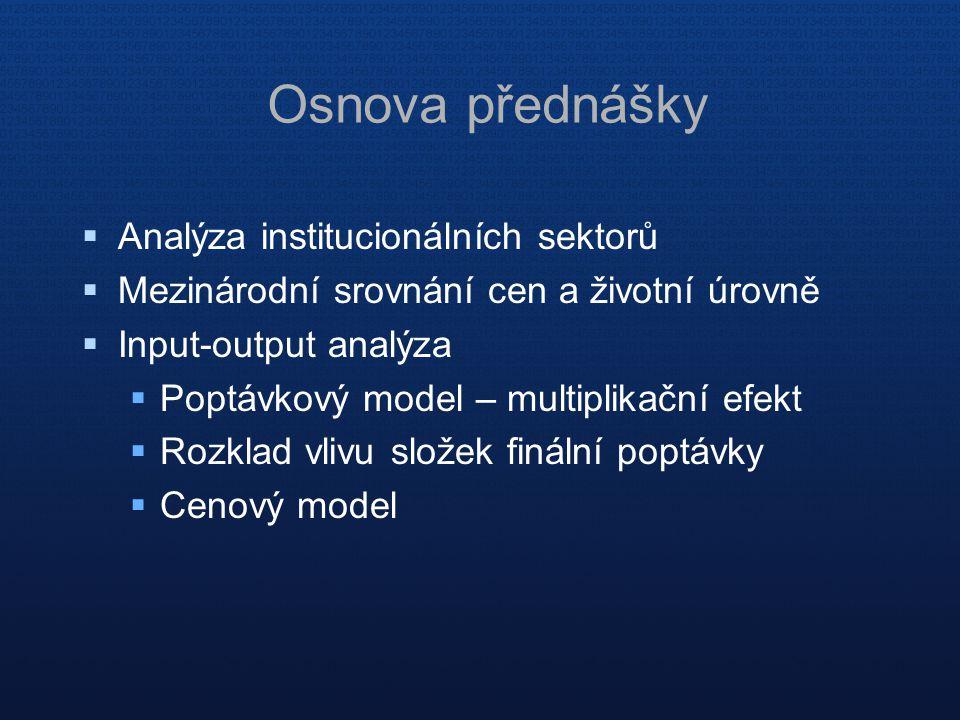  Analýza institucionálních sektorů  Mezinárodní srovnání cen a životní úrovně  Input-output analýza  Poptávkový model – multiplikační efekt  Rozk