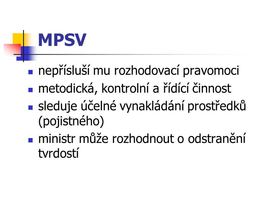 MPSV nepřísluší mu rozhodovací pravomoci metodická, kontrolní a řídící činnost sleduje účelné vynakládání prostředků (pojistného) ministr může rozhodn