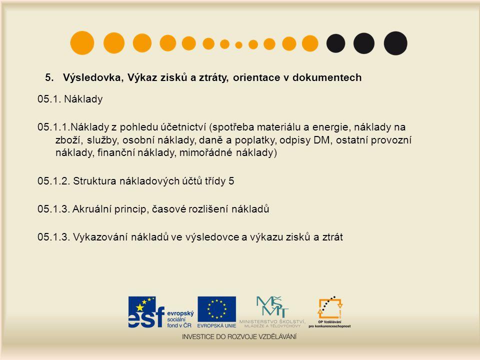 5. Výsledovka, Výkaz zisků a ztráty, orientace v dokumentech 05.1. Náklady 05.1.1.Náklady z pohledu účetnictví (spotřeba materiálu a energie, náklady