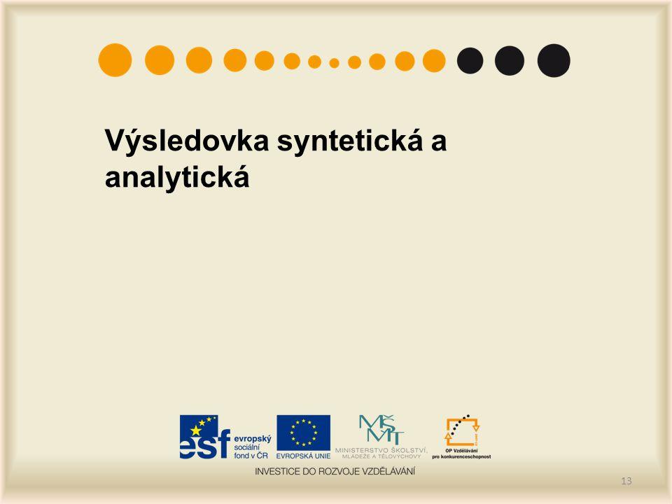 Výsledovka syntetická a analytická 13