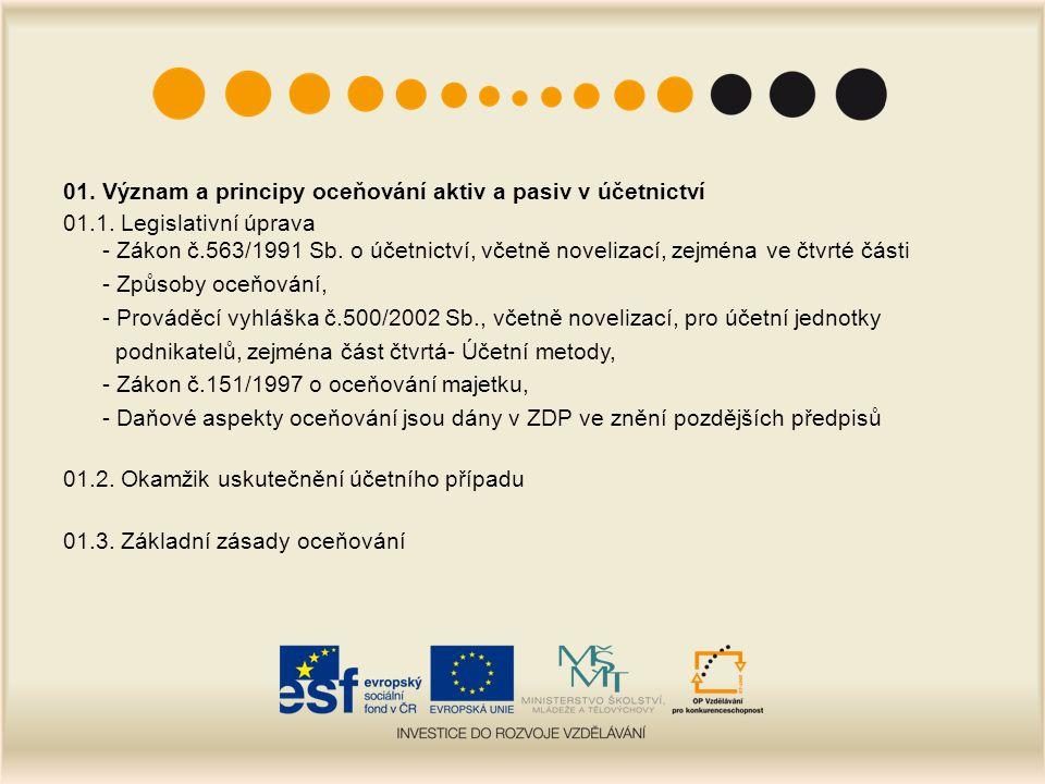 01.Význam a principy oceňování aktiv a pasiv v účetnictví 01.4.