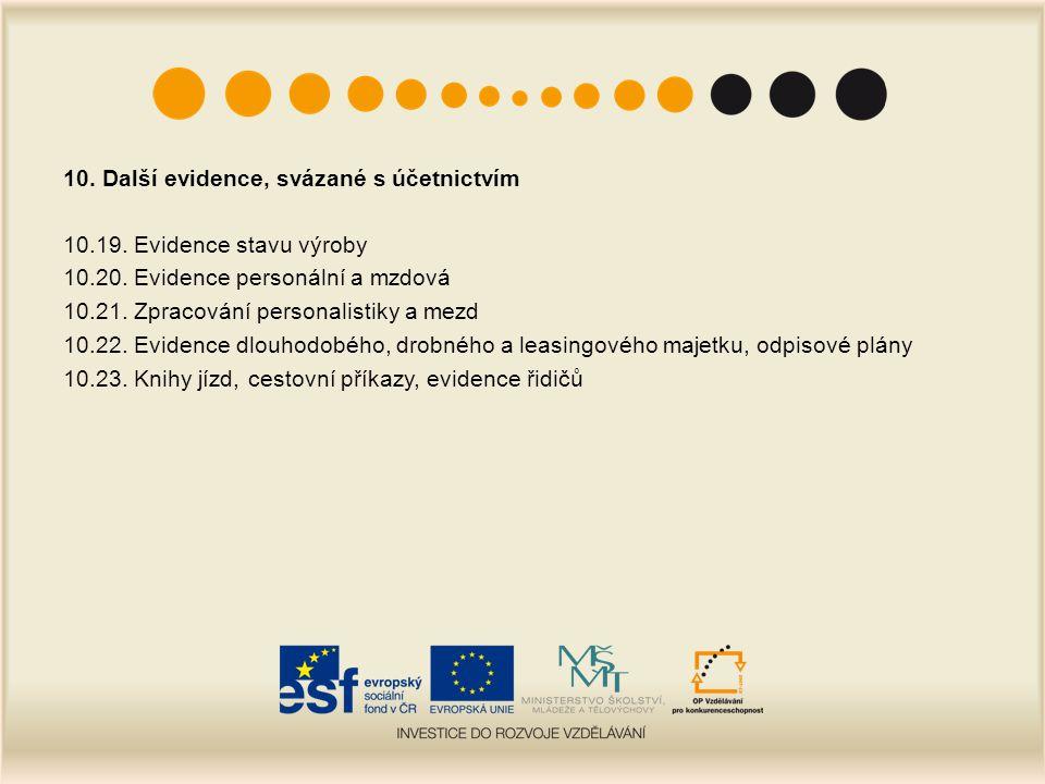 10. Další evidence, svázané s účetnictvím 10.19. Evidence stavu výroby 10.20. Evidence personální a mzdová 10.21. Zpracování personalistiky a mezd 10.