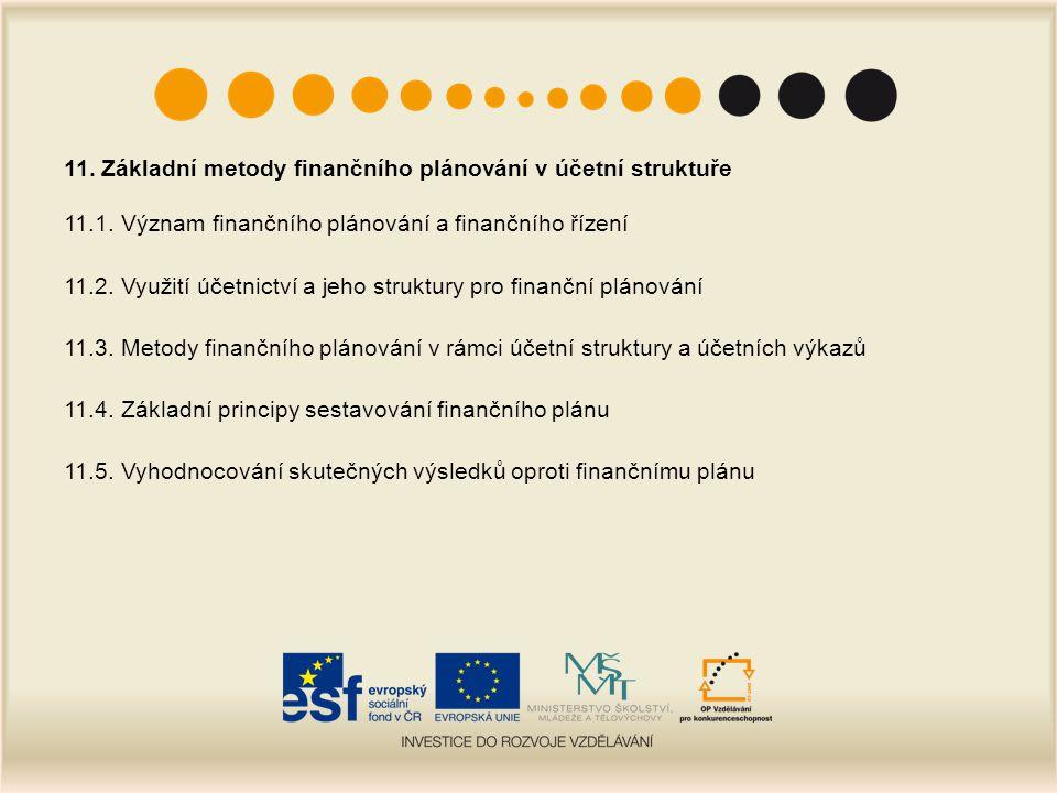 11. Základní metody finančního plánování v účetní struktuře 11.1. Význam finančního plánování a finančního řízení 11.2. Využití účetnictví a jeho stru