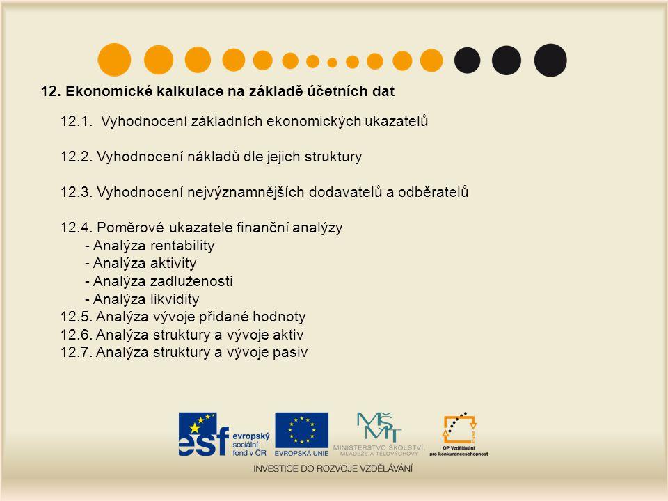 12. Ekonomické kalkulace na základě účetních dat 12.1. Vyhodnocení základních ekonomických ukazatelů 12.2. Vyhodnocení nákladů dle jejich struktury 12