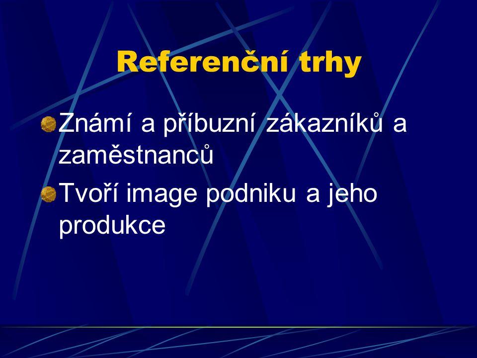 Referenční trhy Známí a příbuzní zákazníků a zaměstnanců Tvoří image podniku a jeho produkce