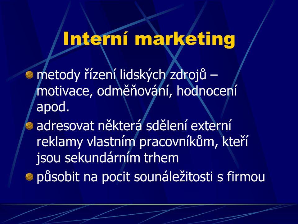 Interní marketing metody řízení lidských zdrojů – motivace, odměňování, hodnocení apod. adresovat některá sdělení externí reklamy vlastním pracovníkům