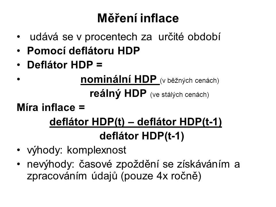 Měření inflace udává se v procentech za určité období Pomocí deflátoru HDP Deflátor HDP = nominální HDP (v běžných cenách) reálný HDP (ve stálých cenách) Míra inflace = deflátor HDP(t) – deflátor HDP(t-1) deflátor HDP(t-1) výhody: komplexnost nevýhody: časové zpoždění se získáváním a zpracováním údajů (pouze 4x ročně)