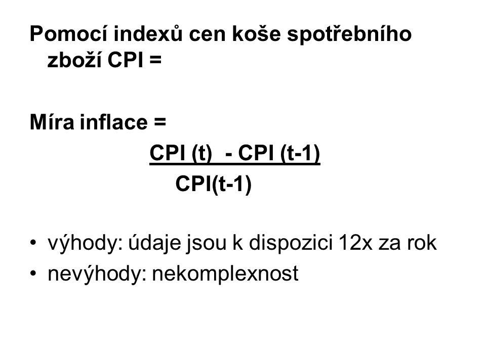Pomocí indexů cen koše spotřebního zboží CPI = Míra inflace = CPI (t) - CPI (t-1) CPI(t-1) výhody: údaje jsou k dispozici 12x za rok nevýhody: nekomplexnost