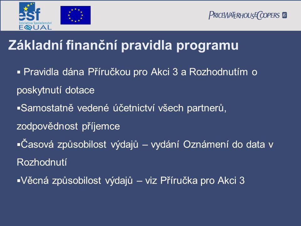 Základní finanční pravidla programu  Pravidla dána Příručkou pro Akci 3 a Rozhodnutím o poskytnutí dotace  Samostatně vedené účetnictví všech partne