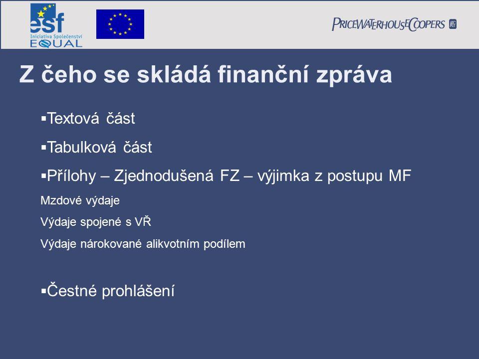 Z čeho se skládá finanční zpráva  Textová část  Tabulková část  Přílohy – Zjednodušená FZ – výjimka z postupu MF Mzdové výdaje Výdaje spojené s VŘ