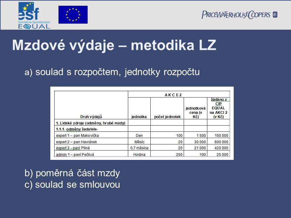 Mzdové výdaje – metodika LZ a) soulad s rozpočtem, jednotky rozpočtu b) poměrná část mzdy c) soulad se smlouvou