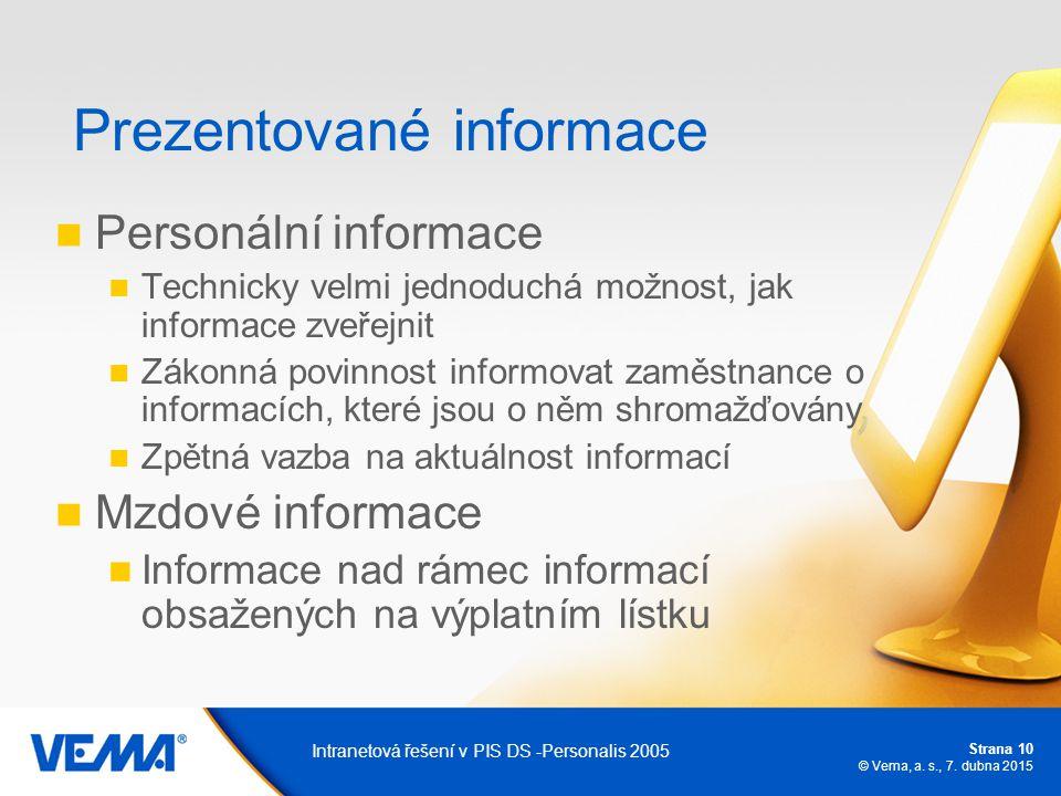 Strana 10 © Vema, a. s., 7. dubna 2015 Intranetová řešení v PIS DS -Personalis 2005 Prezentované informace Personální informace Technicky velmi jednod