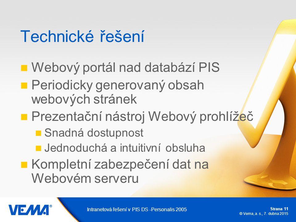 Strana 11 © Vema, a. s., 7. dubna 2015 Intranetová řešení v PIS DS -Personalis 2005 Technické řešení Webový portál nad databází PIS Periodicky generov