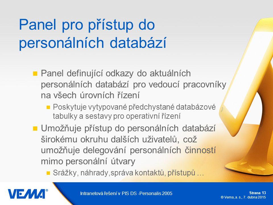 Strana 13 © Vema, a. s., 7. dubna 2015 Intranetová řešení v PIS DS -Personalis 2005 Panel pro přístup do personálních databází Panel definující odkazy