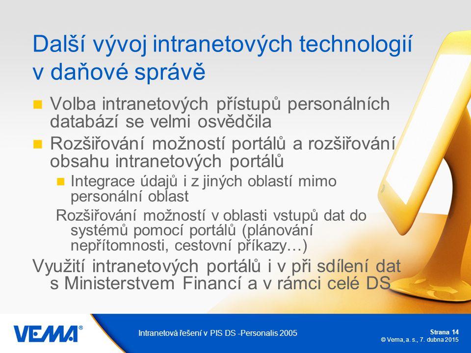 Strana 14 © Vema, a. s., 7. dubna 2015 Intranetová řešení v PIS DS -Personalis 2005 Další vývoj intranetových technologií v daňové správě Volba intran