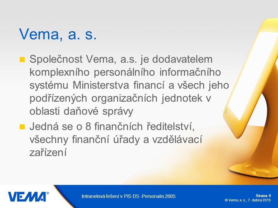 Strana 4 © Vema, a. s., 7. dubna 2015 Intranetová řešení v PIS DS -Personalis 2005 Vema, a. s. Společnost Vema, a.s. je dodavatelem komplexního person