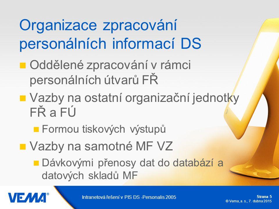 Strana 5 © Vema, a. s., 7. dubna 2015 Intranetová řešení v PIS DS -Personalis 2005 Organizace zpracování personálních informací DS Oddělené zpracování