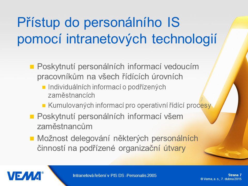 Strana 7 © Vema, a. s., 7. dubna 2015 Intranetová řešení v PIS DS -Personalis 2005 Přístup do personálního IS pomocí intranetových technologií Poskytn