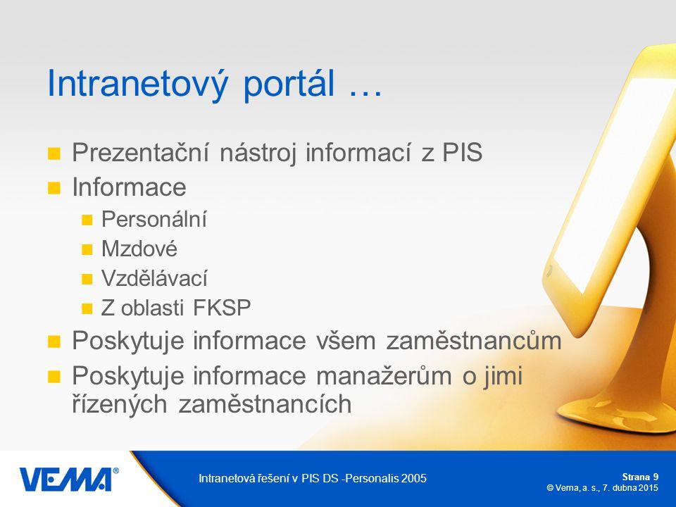 Strana 9 © Vema, a. s., 7. dubna 2015 Intranetová řešení v PIS DS -Personalis 2005 Intranetový portál … Prezentační nástroj informací z PIS Informace
