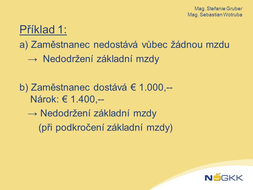 Příklad 1: a) Zaměstnanec nedostává vůbec žádnou mzdu → Nedodržení základní mzdy b) Zaměstnanec dostává € 1.000,-- Nárok: € 1.400,-- → Nedodržení základní mzdy (při podkročení základní mzdy) Mag.