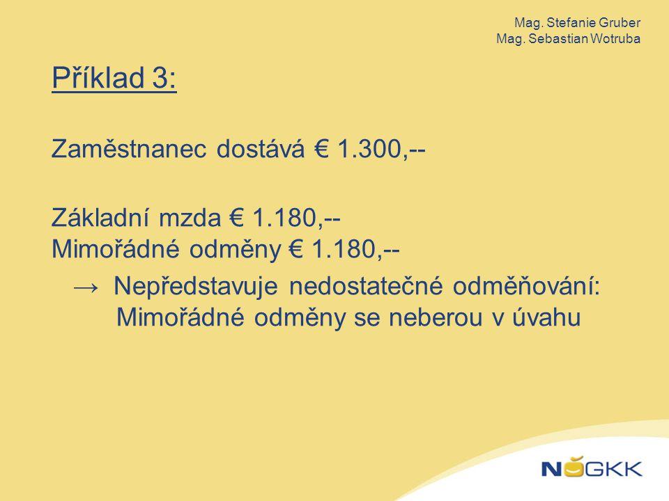 Příklad 3: Zaměstnanec dostává € 1.300,-- Základní mzda € 1.180,-- Mimořádné odměny € 1.180,-- → Nepředstavuje nedostatečné odměňování: Mimořádné odměny se neberou v úvahu Mag.