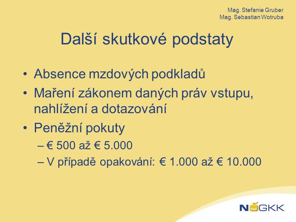 Další skutkové podstaty Absence mzdových podkladů Maření zákonem daných práv vstupu, nahlížení a dotazování Peněžní pokuty –€ 500 až € 5.000 –V případě opakování: € 1.000 až € 10.000 Mag.
