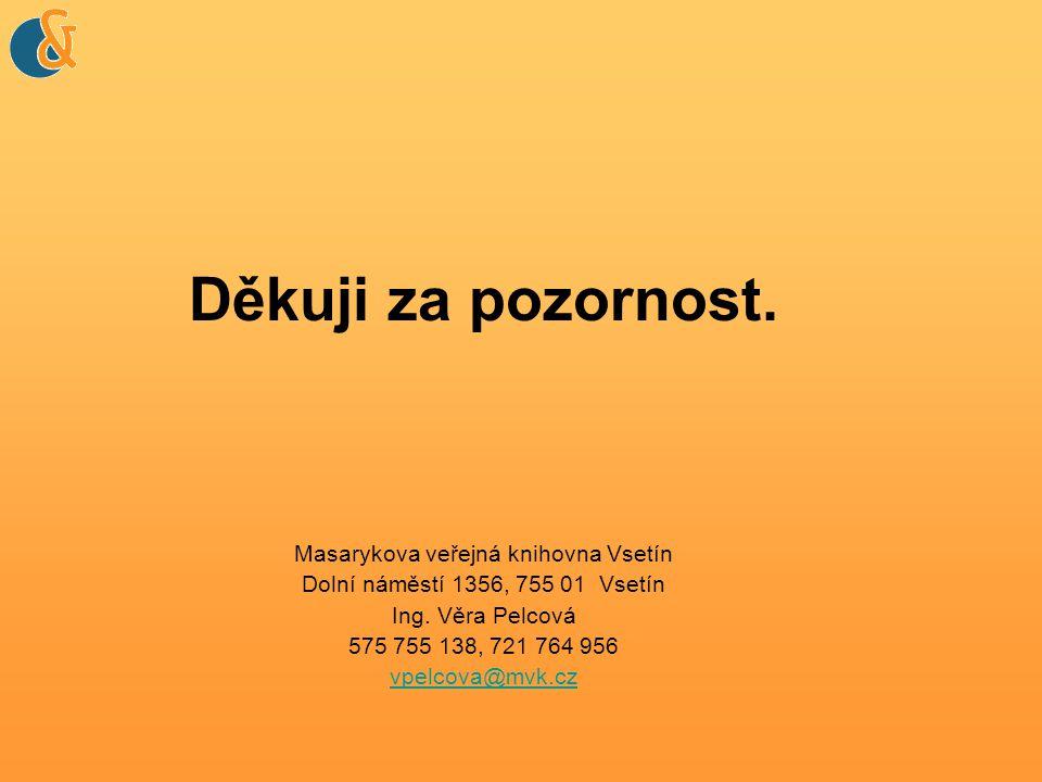 Děkuji za pozornost. Masarykova veřejná knihovna Vsetín Dolní náměstí 1356, 755 01 Vsetín Ing.