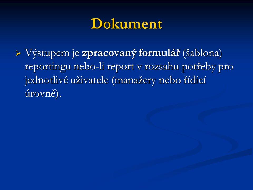 Dokument  Výstupem je zpracovaný formulář (šablona) reportingu nebo-li report v rozsahu potřeby pro jednotlivé uživatele (manažery nebo řídící úrovně