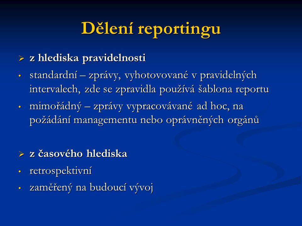 Dělení reportingu  z hlediska pravidelnosti standardní – zprávy, vyhotovované v pravidelných intervalech, zde se zpravidla používá šablona reportu st