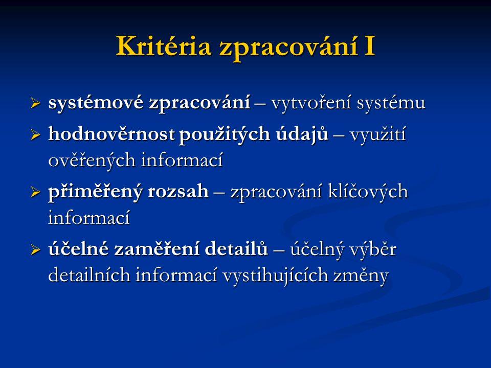 Kritéria zpracování I  systémové zpracování – vytvoření systému  hodnověrnost použitých údajů – využití ověřených informací  přiměřený rozsah – zpr