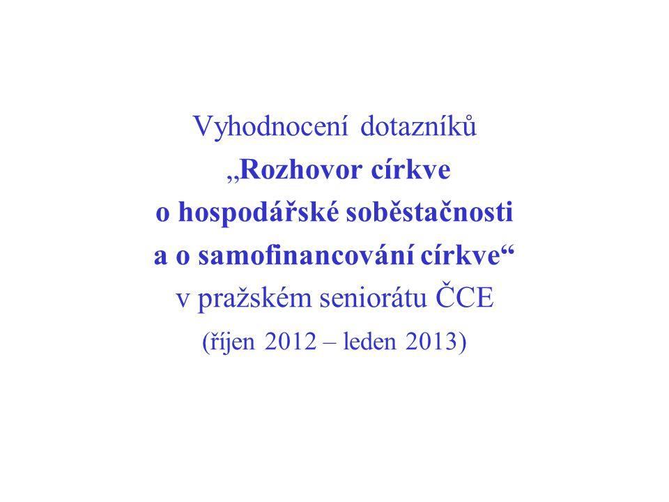 """Vyhodnocení dotazníků """"Rozhovor církve o hospodářské soběstačnosti a o samofinancování církve"""" v pražském seniorátu ČCE (říjen 2012 – leden 2013)"""