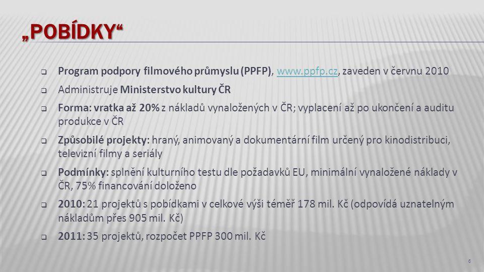 """""""POBÍDKY""""  Program podpory filmového průmyslu (PPFP), www.ppfp.cz, zaveden v červnu 2010www.ppfp.cz  Administruje Ministerstvo kultury ČR  Forma: v"""