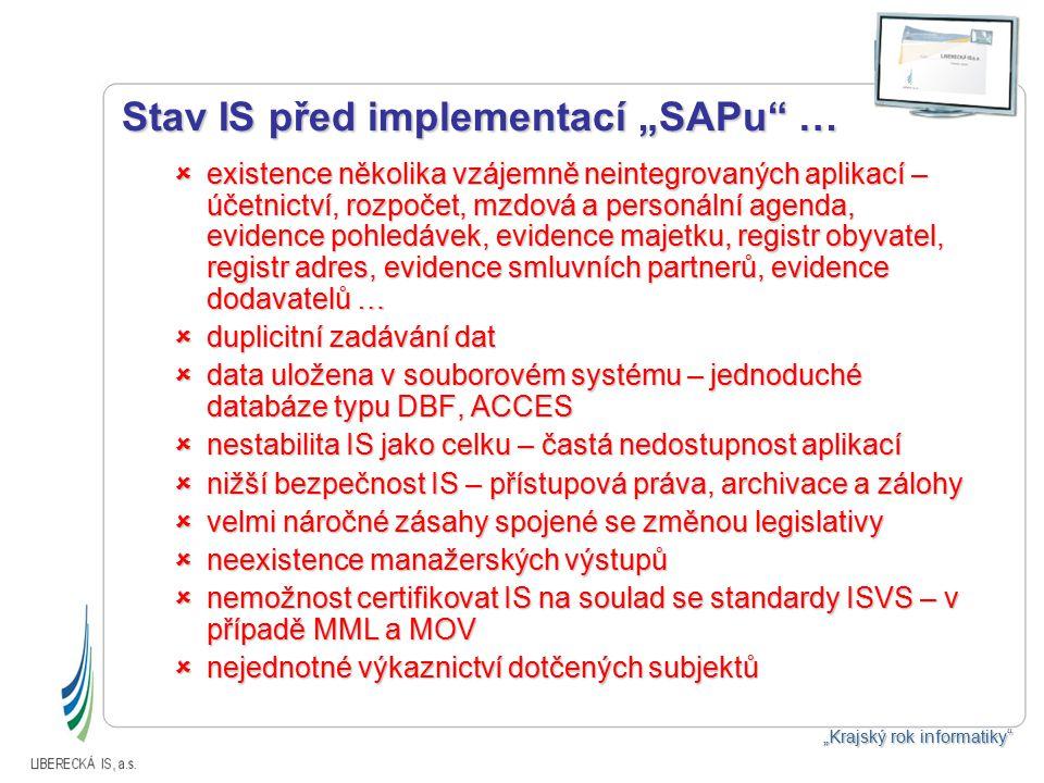 """Stav IS před implementací """"SAPu …  existence několika vzájemně neintegrovaných aplikací – účetnictví, rozpočet, mzdová a personální agenda, evidence pohledávek, evidence majetku, registr obyvatel, registr adres, evidence smluvních partnerů, evidence dodavatelů …  duplicitní zadávání dat  data uložena v souborovém systému – jednoduché databáze typu DBF, ACCES  nestabilita IS jako celku – častá nedostupnost aplikací  nižší bezpečnost IS – přístupová práva, archivace a zálohy  velmi náročné zásahy spojené se změnou legislativy  neexistence manažerských výstupů  nemožnost certifikovat IS na soulad se standardy ISVS – v případě MML a MOV  nejednotné výkaznictví dotčených subjektů """"Krajský rok informatiky"""