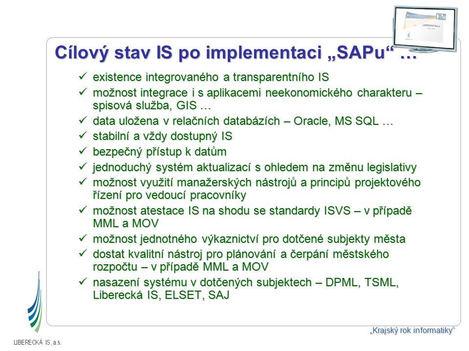 """Cílový stav IS po implementaci """"SAPu … existence integrovaného a transparentního IS existence integrovaného a transparentního IS možnost integrace i s aplikacemi neekonomického charakteru – spisová služba, GIS … možnost integrace i s aplikacemi neekonomického charakteru – spisová služba, GIS … data uložena v relačních databázích – Oracle, MS SQL … data uložena v relačních databázích – Oracle, MS SQL … stabilní a vždy dostupný IS stabilní a vždy dostupný IS bezpečný přístup k datům bezpečný přístup k datům jednoduchý systém aktualizací s ohledem na změnu legislativy jednoduchý systém aktualizací s ohledem na změnu legislativy možnost využití manažerských nástrojů a principů projektového řízení pro vedoucí pracovníky možnost využití manažerských nástrojů a principů projektového řízení pro vedoucí pracovníky možnost atestace IS na shodu se standardy ISVS – v případě MML a MOV možnost atestace IS na shodu se standardy ISVS – v případě MML a MOV možnost jednotného výkaznictví pro dotčené subjekty města možnost jednotného výkaznictví pro dotčené subjekty města dostat kvalitní nástroj pro plánování a čerpání městského rozpočtu – v případě MML a MOV dostat kvalitní nástroj pro plánování a čerpání městského rozpočtu – v případě MML a MOV nasazení systému v dotčených subjektech – DPML, TSML, Liberecká IS, ELSET, SAJ nasazení systému v dotčených subjektech – DPML, TSML, Liberecká IS, ELSET, SAJ """"Krajský rok informatiky"""