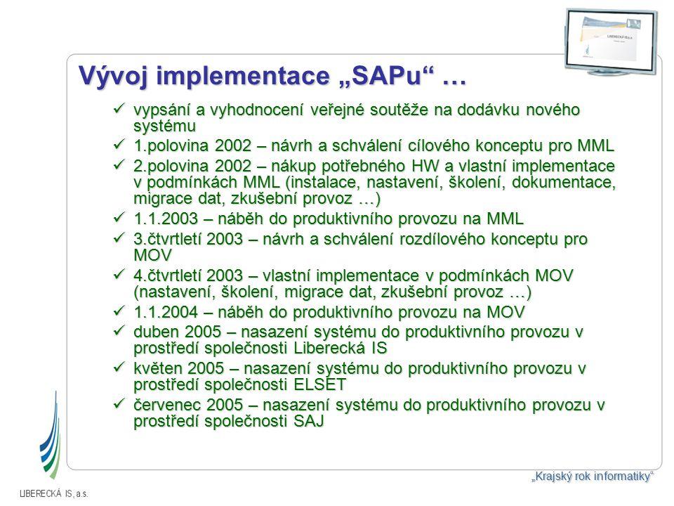"""Vývoj implementace """"SAPu … vypsání a vyhodnocení veřejné soutěže na dodávku nového systému vypsání a vyhodnocení veřejné soutěže na dodávku nového systému 1.polovina 2002 – návrh a schválení cílového konceptu pro MML 1.polovina 2002 – návrh a schválení cílového konceptu pro MML 2.polovina 2002 – nákup potřebného HW a vlastní implementace v podmínkách MML (instalace, nastavení, školení, dokumentace, migrace dat, zkušební provoz …) 2.polovina 2002 – nákup potřebného HW a vlastní implementace v podmínkách MML (instalace, nastavení, školení, dokumentace, migrace dat, zkušební provoz …) 1.1.2003 – náběh do produktivního provozu na MML 1.1.2003 – náběh do produktivního provozu na MML 3.čtvrtletí 2003 – návrh a schválení rozdílového konceptu pro MOV 3.čtvrtletí 2003 – návrh a schválení rozdílového konceptu pro MOV 4.čtvrtletí 2003 – vlastní implementace v podmínkách MOV (nastavení, školení, migrace dat, zkušební provoz …) 4.čtvrtletí 2003 – vlastní implementace v podmínkách MOV (nastavení, školení, migrace dat, zkušební provoz …) 1.1.2004 – náběh do produktivního provozu na MOV 1.1.2004 – náběh do produktivního provozu na MOV duben 2005 – nasazení systému do produktivního provozu v prostředí společnosti Liberecká IS duben 2005 – nasazení systému do produktivního provozu v prostředí společnosti Liberecká IS květen 2005 – nasazení systému do produktivního provozu v prostředí společnosti ELSET květen 2005 – nasazení systému do produktivního provozu v prostředí společnosti ELSET červenec 2005 – nasazení systému do produktivního provozu v prostředí společnosti SAJ červenec 2005 – nasazení systému do produktivního provozu v prostředí společnosti SAJ """"Krajský rok informatiky"""