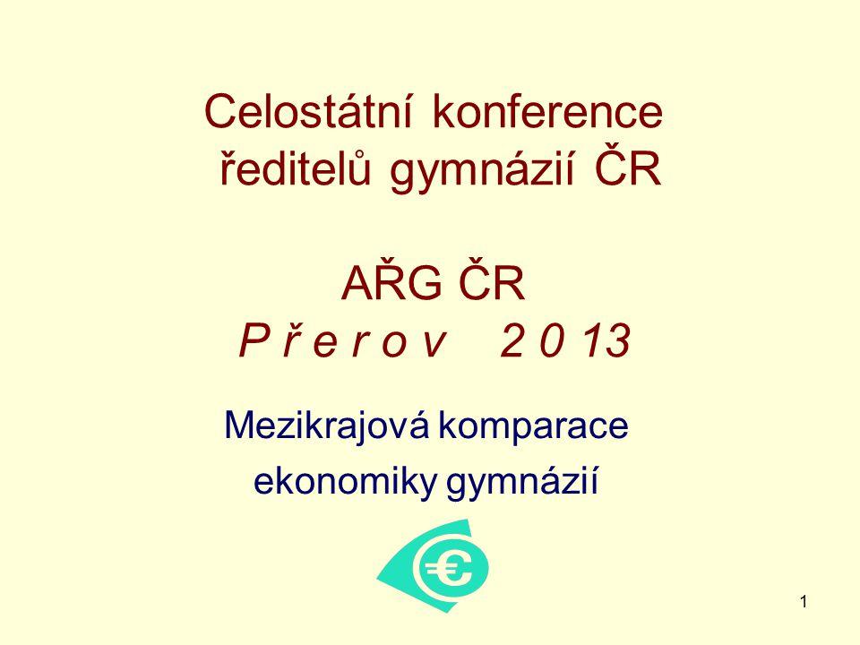 1 Celostátní konference ředitelů gymnázií ČR AŘG ČR P ř e r o v 2 0 13 Mezikrajová komparace ekonomiky gymnázií