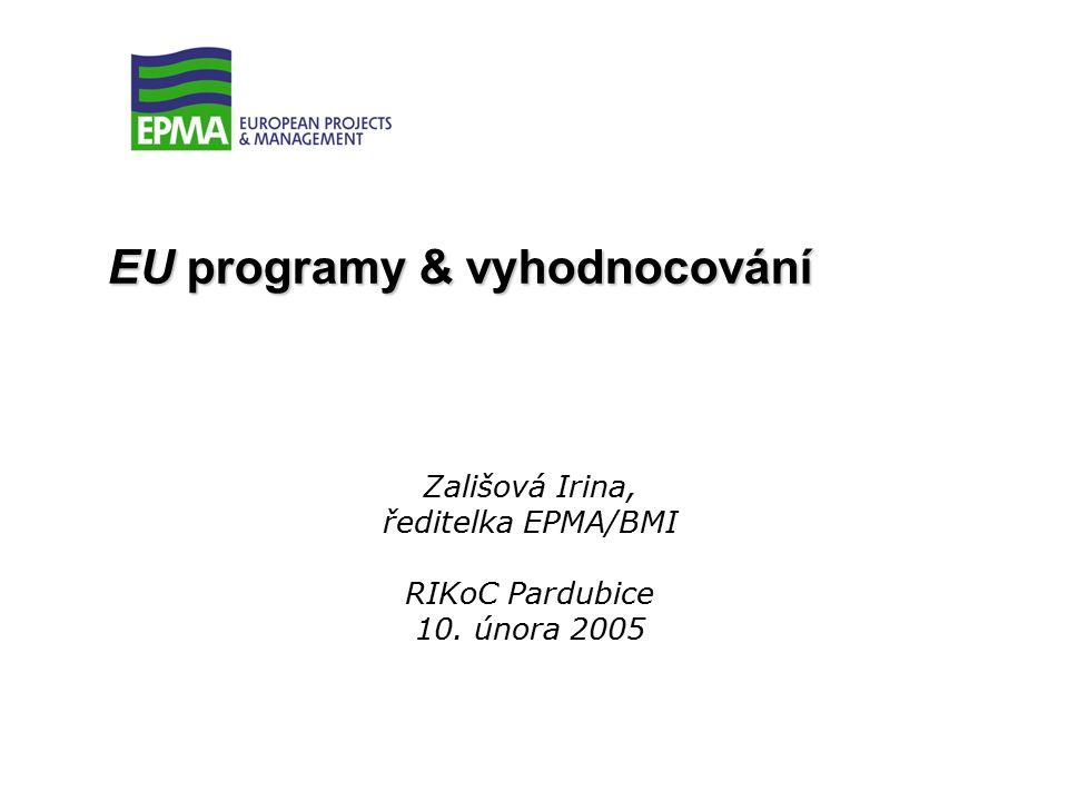 Irina Zálišová, EPMA/BMI, Pardubice, 10.02.2005 Principy fungování evropských projektů Finanční management: -etapizace projektů, -auditování žadatele a finančních reportů, -vykazování investičních nákladů dle účetních standardů, -vykazování mzdových nákladů zpravidla dle dodatečných mzdových nákladů.