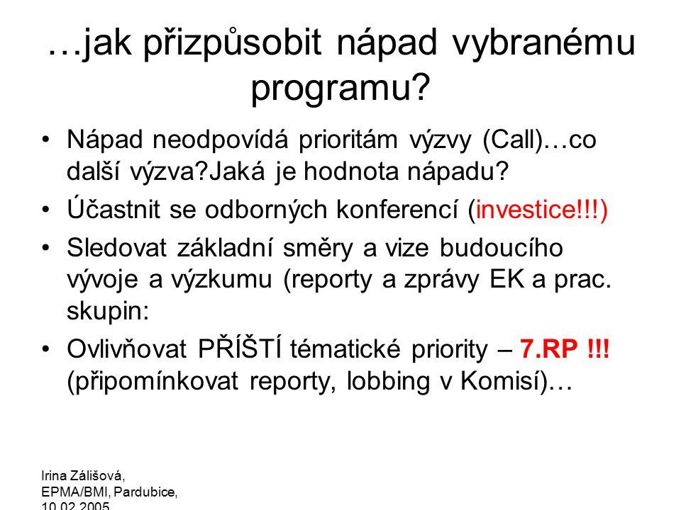 Irina Zálišová, EPMA/BMI, Pardubice, 10.02.2005 …jak přizpůsobit nápad vybranému programu.