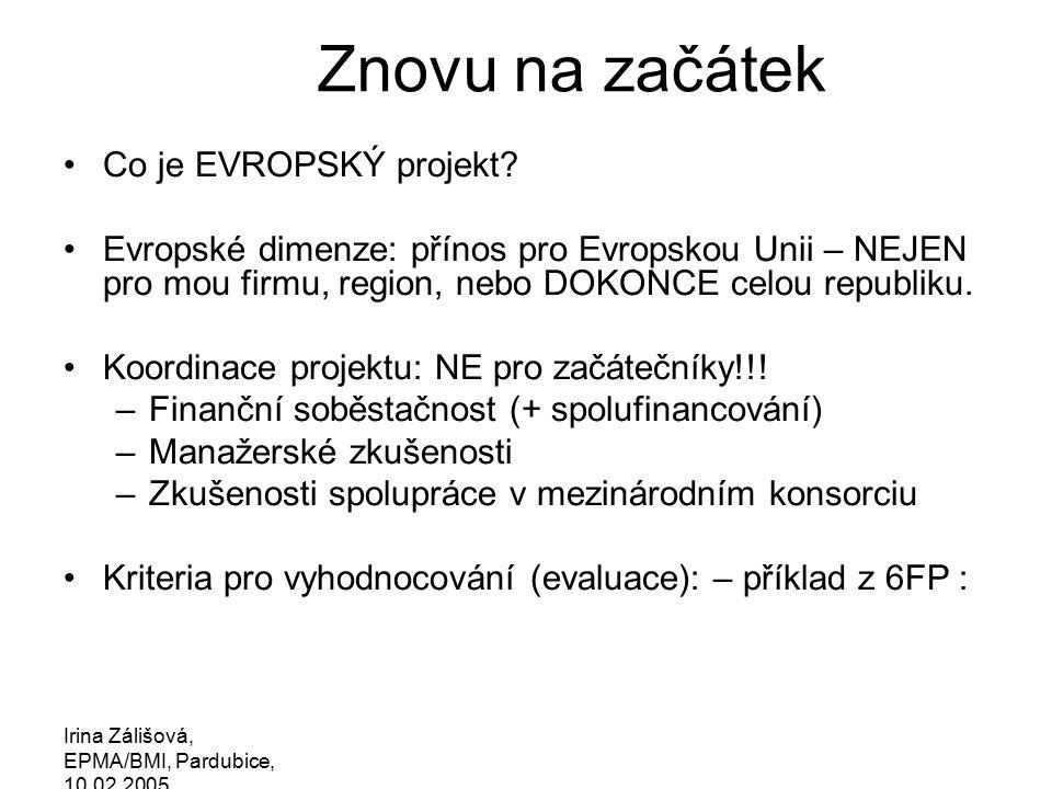 Irina Zálišová, EPMA/BMI, Pardubice, 10.02.2005 Znovu na začátek Co je EVROPSKÝ projekt.