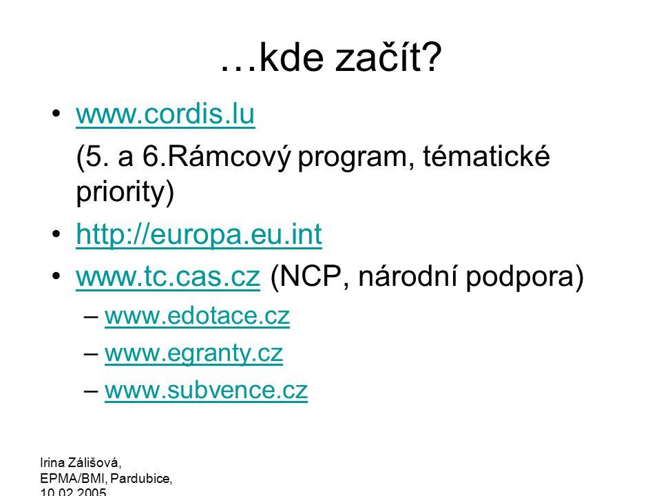 Irina Zálišová, EPMA/BMI, Pardubice, 10.02.2005 …jak najít partnery.