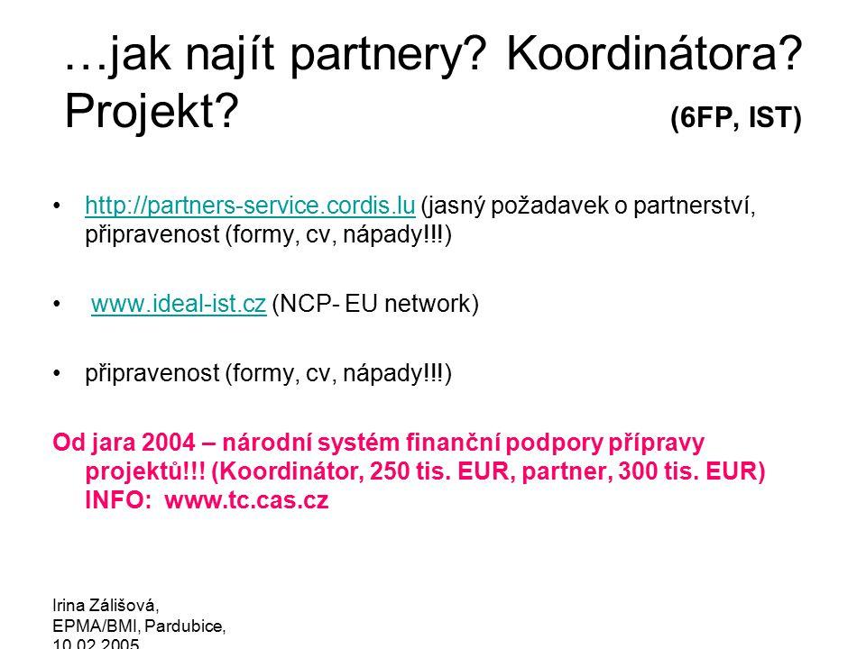 Irina Zálišová, EPMA/BMI, Pardubice, 10.02.2005 Krok za krokem: manuály a pomůcky www.ideal-ist.cz, www.tc.cas.cz,www.ideal-ist.cz (www.cordis.lu/fp6/stepbystep/submission.