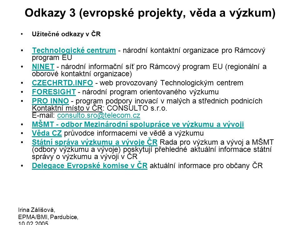 Irina Zálišová, EPMA/BMI, Pardubice, 10.02.2005 …instrumenty a formy projektů …formy projektů 6FP: SSA, CA, STREP, Network of excellence, IP Specific Support Actions (menší podpůrné projekty, obvykle do 1 mln EUR, do 2 let) Coordination Action (koordinace mezinár.