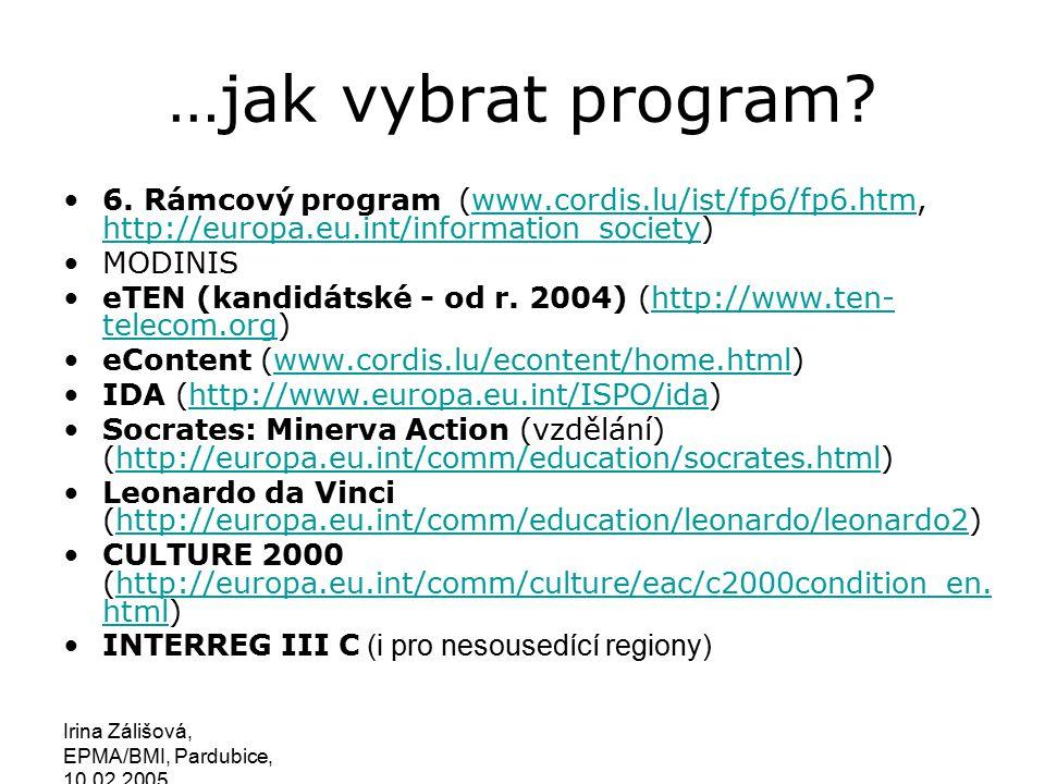 Irina Zálišová, EPMA/BMI, Pardubice, 10.02.2005 eEurope IDA eContent eTEN Culture 2000 Minerva Leonardo Youth Innovative Actions IST ERA Synergie mezi EU programy INTERREG