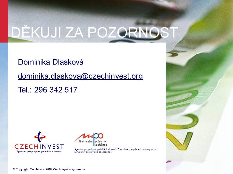 Agentura pro podporu podnikání a investic CzechInvest je příspěvkovou organizací Ministerstva průmyslu a obchodu ČR. © Copyright, CzechInvest 2010. Vš