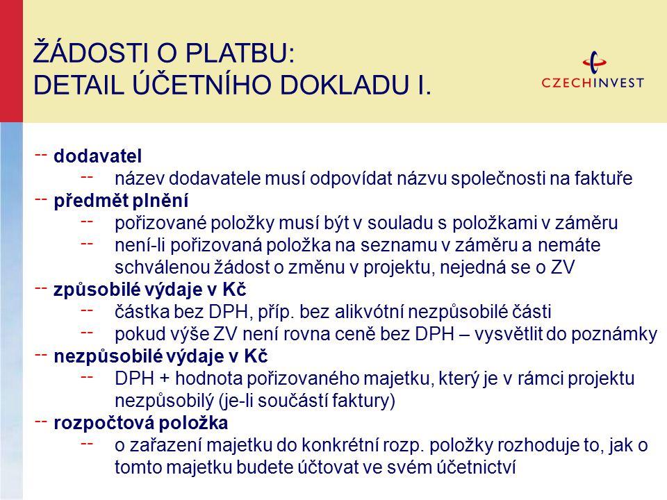 ŽÁDOSTI O PLATBU: DETAIL ÚČETNÍHO DOKLADU II.