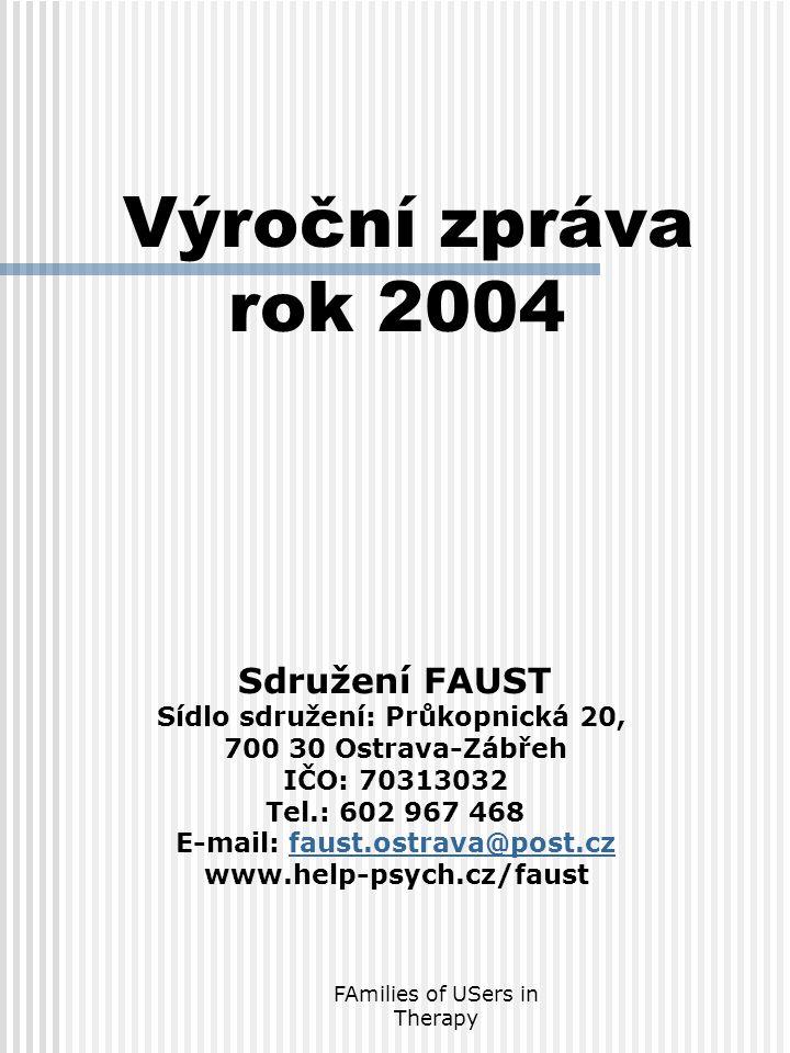 FAmilies of USers in Therapy Sdružení FAUST Sídlo sdružení: Průkopnická 20, 700 30 Ostrava-Zábřeh IČO: 70313032 Tel.: 602 967 468 E-mail: faust.ostrava@post.czfaust.ostrava@post.cz www.help-psych.cz/faust Výroční zpráva rok 2004