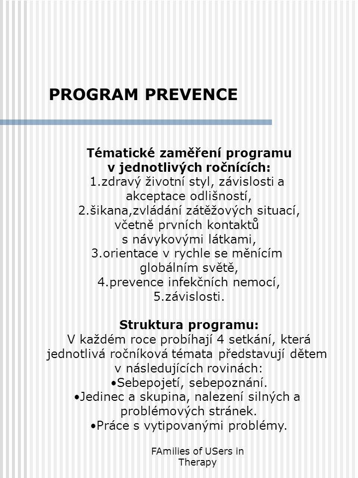 FAmilies of USers in Therapy Tématické zaměření programu v jednotlivých ročnících: 1.zdravý životní styl, závislosti a akceptace odlišností, 2.šikana,zvládání zátěžových situací, včetně prvních kontaktů s návykovými látkami, 3.orientace v rychle se měnícím globálním světě, 4.prevence infekčních nemocí, 5.závislosti.