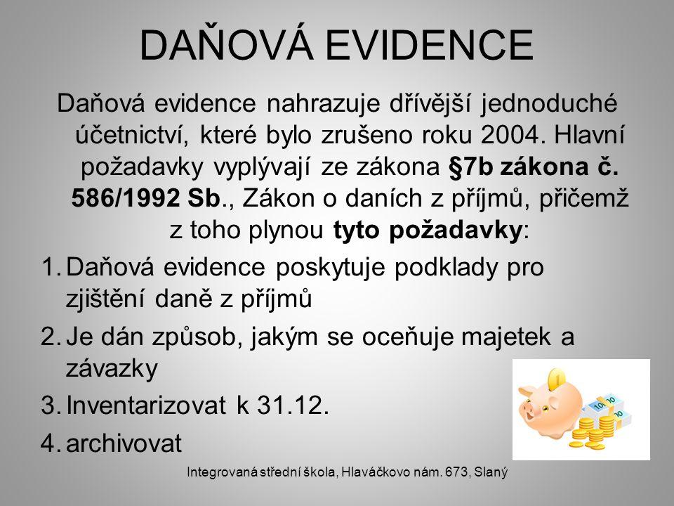 DAŇOVÁ EVIDENCE Daňová evidence nahrazuje dřívější jednoduché účetnictví, které bylo zrušeno roku 2004. Hlavní požadavky vyplývají ze zákona §7b zákon